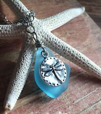 """Dragonfly Jewelry Blue Sea Glass Necklace 22"""" 24"""" Gift Sack HandMade Beautiful"""