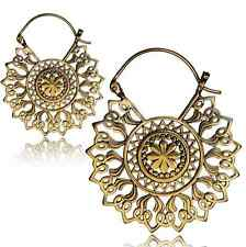 "PAIR 18g MANDALA FLOWER 2"" INCH POLISHED BRASS PLUGS EARRINGS GAUGES GIRLY"