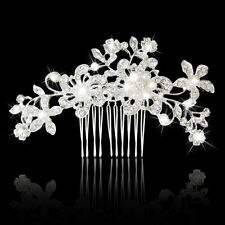 Shiny Bridal Wedding Pearl Flower Rhinestone Diamante Women Hair Comb Clip