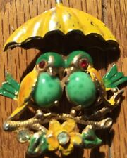 Rare Vintage Pin Two Jelly Belly Love Birds Jade? Signed Star Chippy Fabulous