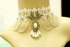 Women White Pearl Vintage Victorian Gothic Velvet Ribbon Choker Lace Necklace