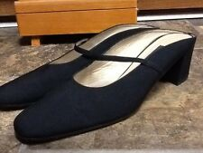 VANELI WOMEN'S BLACK LEATHER/FABRIC MARY JANE BACKLESS HEELS SHOES SIZE 11S