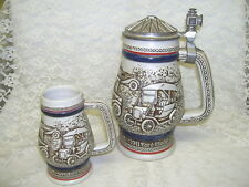 AVON STEINS EARLY CARS BY CERAMARTE BRAZIL 1982 & 1979 SET/ 2