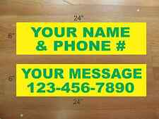 """10 6""""x24"""" Yellow & Green REAL ESTATE NAME RIDER SIGNS CUSTOM LOWEST PRICE NEW"""