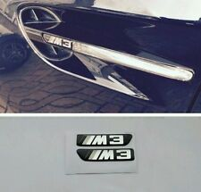 2 Black & Chrome BMW M3 Side Fender Vent Grill Emblems Badges sport Monochrome