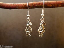Kokopelli Fertility God Earrings silver plated wiccan pagan jewellery pair