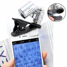 60X Optical LED Microscope Mobile Phone Lens Magnifier Glass Jeweler For iPhone