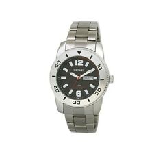 Henley Gents Day Date Bracelet Watch Polished Chrome Rotating Ring