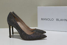 "sz 8 / 38.5 Manolo Blahnik BB 105"" Metallic Silver Glitter Pointed Toe Pump Shoe"