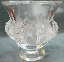 Lalique Crystal Dampierre With Frosted Birds & Alternating Vines Vase/Bowl