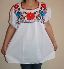 ELASTIC WHITE PEASANT PUEBLA SILK EMBROIDERED MEXICAN TUNIC BLOUSE TOP XXL