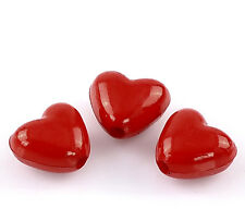 50 x Red Love Heart Acrylic Charm Beads Craft Jewellery - 11mm - L22421 *