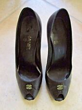 CHANEL BLACK LEATHER CC LOGO PEEP TOE PUMPS SHOES 39-9