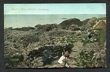 C1910 View of People at the Giant's Well, Giants Causeway, Northern Ireland.