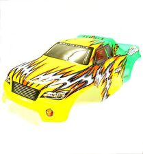 08703 1/8 Scale RC Nitro Monster Truck Body Shell Cover Yellow Green Cut