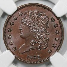 1835 C-2 NGC MS 65 BN Classic Head Half Cent Coin 1/2c