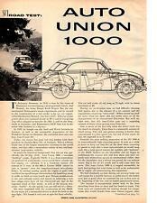 1959 AUTO UNION 1000  ~  GREAT ORIGINAL 3-PAGE ROAD TEST / ARTICLE / AD