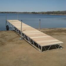 16' foot Aluminum Roll In outdoor portable Boat wood Dock With Cedar Decking