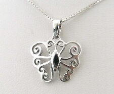 "Funky 925 Sterling Silver Filigree Butterfly Necklace with 16"" Silver Box Chain"
