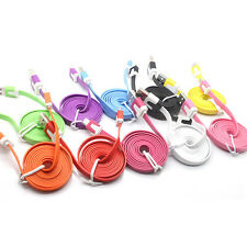 1M/3ft Flat Noodle Micro USB Charger Sync Data Cable for Android Mobile 18a15