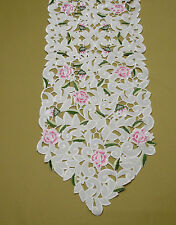 Embroidered Pointed Table Runner Pink Rose Design Cutwork Kitchen Dining M407M