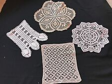 LOT OF 4 VINTAGE HAND CROCHET ECRU DOILIES (VARIETY OF SIZES & STYLES)