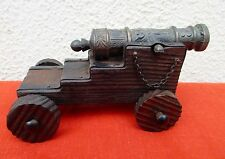 VINTAGE SPANISH GALLEON TOY CANNON - WOOD AND CAST IRON - 5 1/2""
