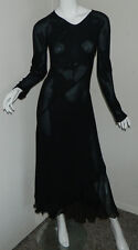 Women Silk Carter Shibori Solid Black Long Sleeve Sheer Maxi Dress Size S