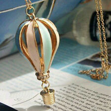 Womens Colorful Fire Balloon Necklace Hot Air Balloon Pendant Chain Fine DMX