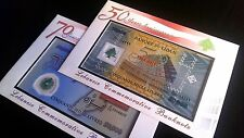 50000 LL 2014 2013 NEW & OLD polymer COMMEMORATIVE ENVELOPE 50 years BDL Lebanon