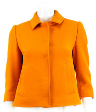 Dolce & Gabbana Wool Orange Cropped Pocket Coat, Size 42/ US 6