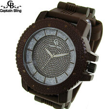 Men's Captain Bling  Heavy duty Hip Hop Silicone  Bullet band Watch W 1922 New
