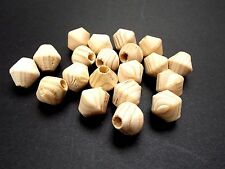 50pcs 16mm x 15mm Wooden BICONE Beads - Unpainted Natural Unfinished Wood