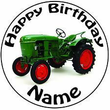 "Personalised Vintage Tractor Icing Cake Topper - Round Easy Pre-cut 8"" (20cm)"