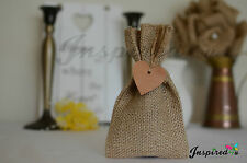 10 x HESSIAN RUSTIC FAVOUR BAGS AND WOOD HEART TAGS WEDDING GIFT FAVOR BURLAP