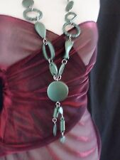 Statement Necklace Long 55cm Chain & multi Bead - Green Tribal 121GN