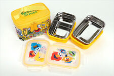 School Bus Bento Lunch Boxes Bag Set Stainless Steel for Kids Airtight Container