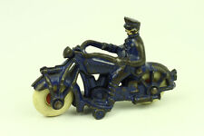 """Rare Antique Champion Hardware Cast Iron Police Man on Motorcycle Toy 4-3/4"""" L"""