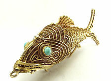 Huge Vintage CHINESE Silver Gilt Flexible KOI FISH Pendant Pomander MOUTH Opens