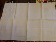 Antique White Linen Pillowcase With A Floral Pattern