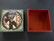 Art Nouveau Lacquer Box with Tubelined Pottery Decoration Stylised Lady on lid