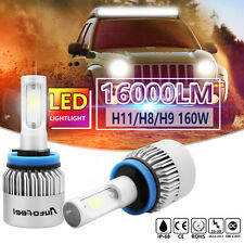 160W H11 16000LM PHILIPS COB LED Headlight Low Beam Bulbs 6000K White High Power
