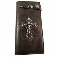 Men's Skull Cross Leather Wallet Rocker Biker Fashion Emo PUNK Gothic Long Purse