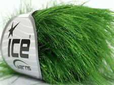 38Yd Grass Green Extra Long Eyelash Yarn #43040 Ice Luxurious Fun Fur 50 Gram