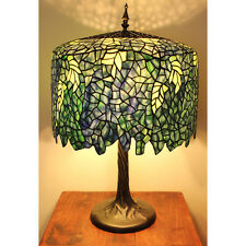 TIFFANY STYLE TABLE LAMP Stained Glass Tree Trunk Base Light Metal Bronze Copper