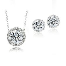 Platinum Plated Sterling Silver 100 Facets CZ Halo Necklace & Earrings Set 4cttw