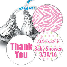 108 Baby Girl Thank You Personalized Hershey Kiss Stickers Favors Baby Shower