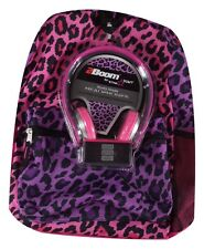 Star Point Tech Ready Pink Purple Leopard Backpack With Studio Grade Headphones