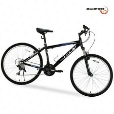 "26"" Black Blue Mountain Bike 18 Speed Bicycle Shimano Hybrid GTM School Sports"