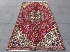 Shabby Chic Old Traditional Hand Made Persian Oriental Red Wool Rug 257x140cm